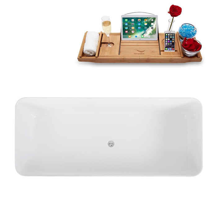 "67"" Streamline Solid Surface Resin K-1580-67FSWHSS-FM Soaking Freestanding Tub and Tray with Internal Drain"