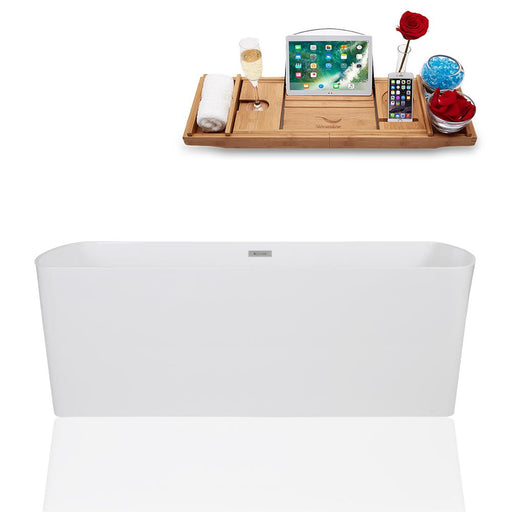 "67"" Streamline Solid Surface Resin K-1782-67FSWHSS-FM Soaking Freestanding Tub and Tray with Internal Drain"