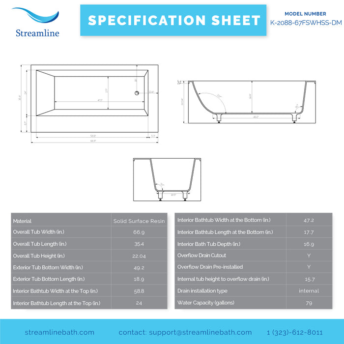67'' Solid Surface Resin K-2088-67FSWHSS-DM Soaking Freestanding Tub and Tray with Internal Drain