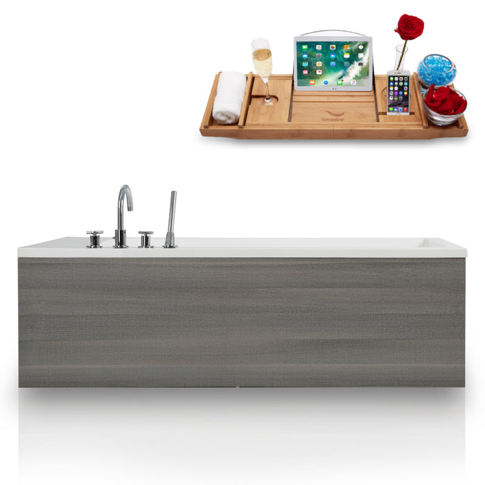 71'' Solid Surface Resin K-2089-71FSWHSS-DM Soaking Freestanding Tub and Tray with Internal Drain