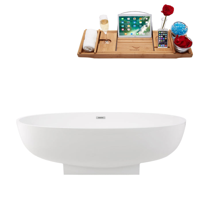 "67"" Solid Surface Resin K-70-70FSWHSS-FM Soaking Freestanding Tub and Tray with Internal Drain"