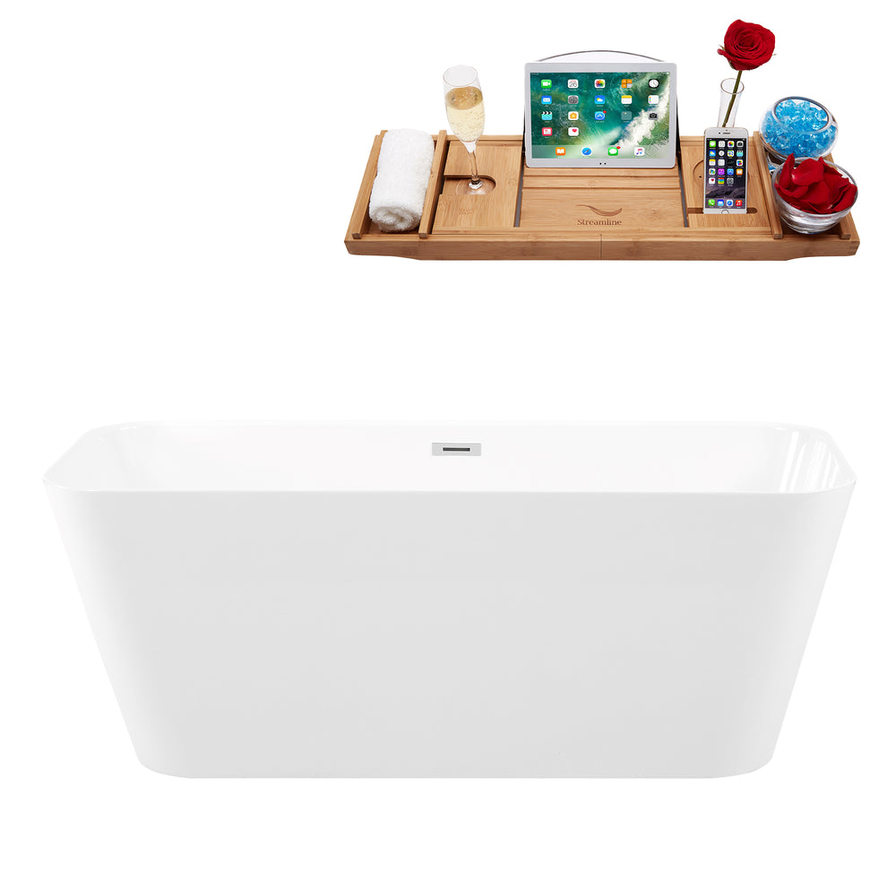 "59"" Solid Surface Resin K-82-59FSWHSS-FM Soaking Freestanding Tub and Tray with Internal Drain"