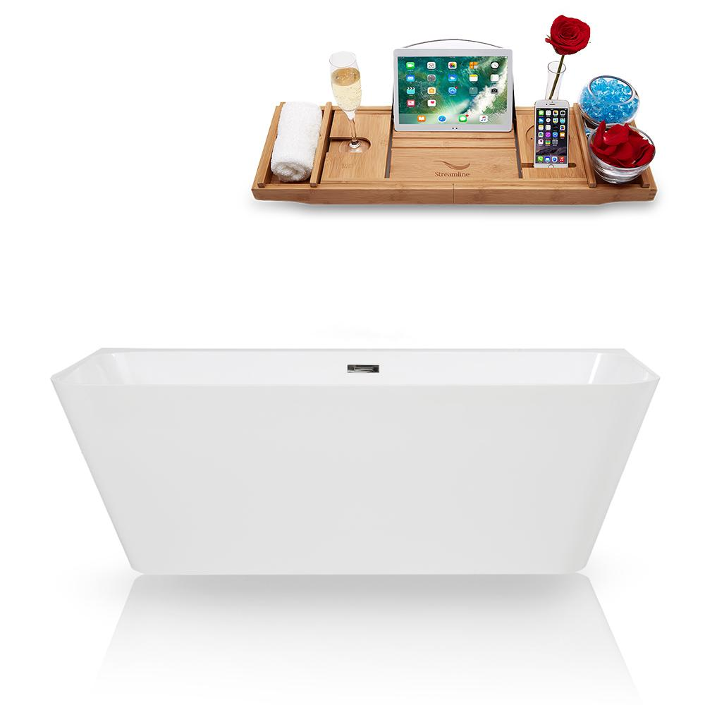 "67"" Streamline Solid Surface Resin K-85-67FSWHSS-FM Soaking Freestanding Tub and Tray with Internal Drain"