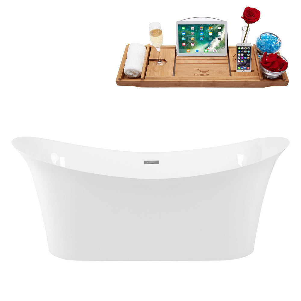 "67"" Solid Surface Resin K-88-70FSWHSS-FM Soaking Freestanding Tub and Tray with Internal Drain"