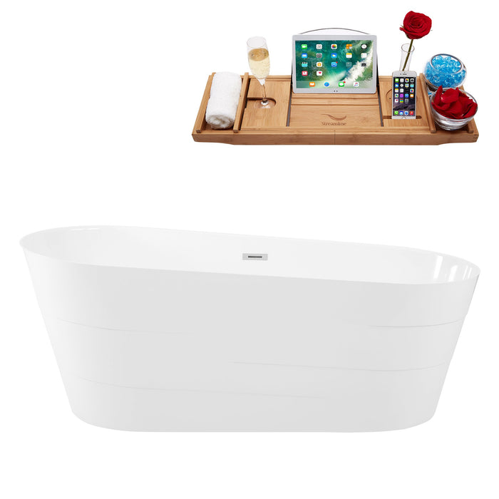 "67"" Solid Surface Resin K-89-70FSWHSS-FM Soaking Freestanding Tub and Tray with Internal Drain"