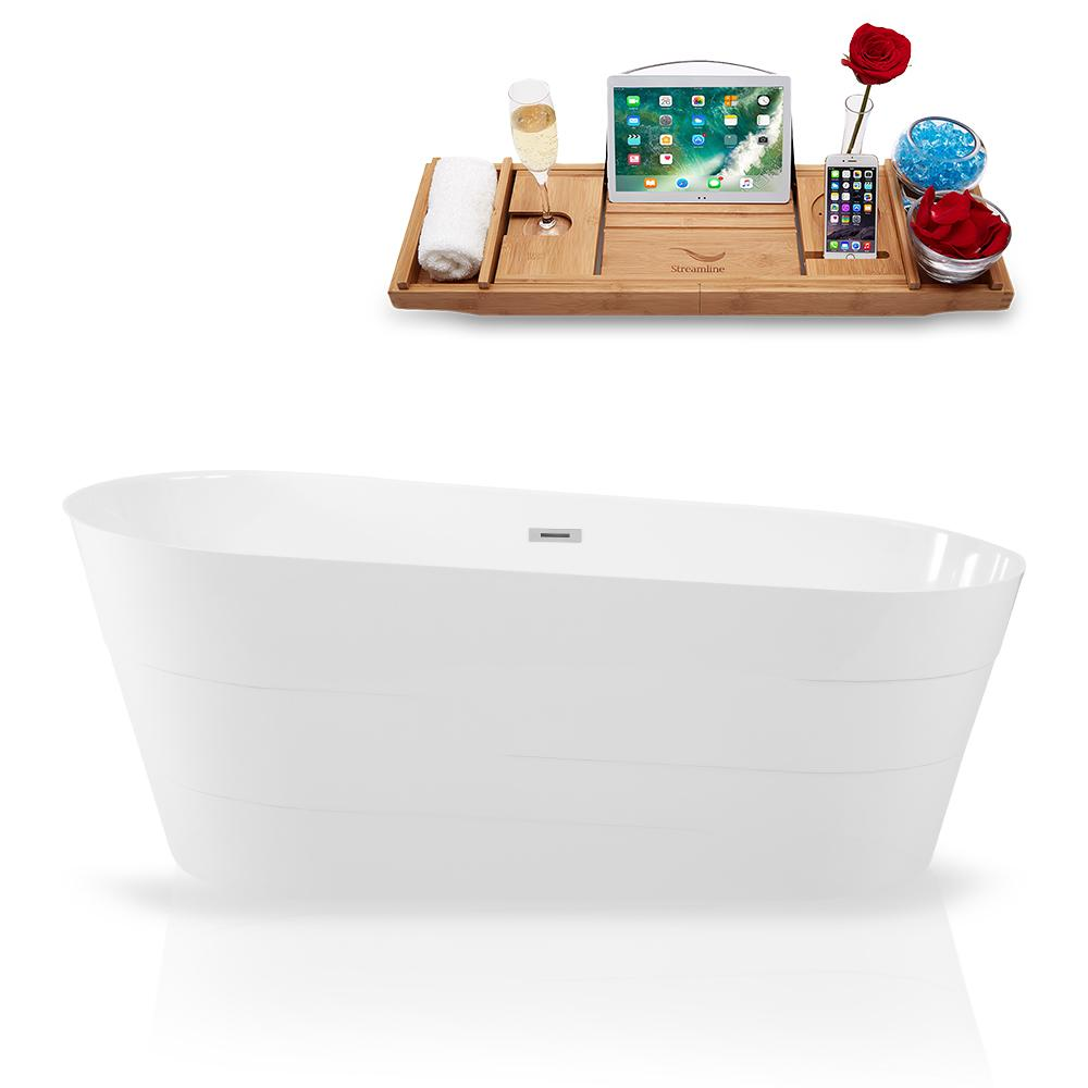 "59"" Streamline Solid Surface Resin K-892-59FSWHSS-FM Soaking Freestanding Tub and Tray with Internal Drain"