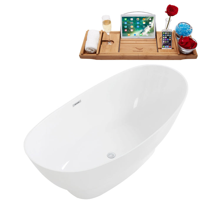 "63"" Solid Surface Resin K-96-63FSWHSS-FM Soaking Freestanding Tub and Tray with Internal Drain"