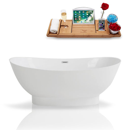 "67"" Streamline Solid Surface Resin K-962-67FSWHSS-FM Soaking Freestanding Tub and Tray with Internal Drain"