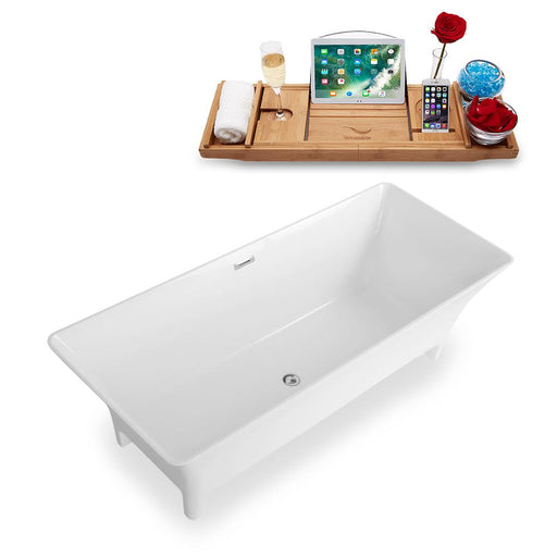 "67"" Streamline Solid Surface Resin K-97-67FSWHSS-FM Soaking Freestanding Tub and Tray with Internal Drain"