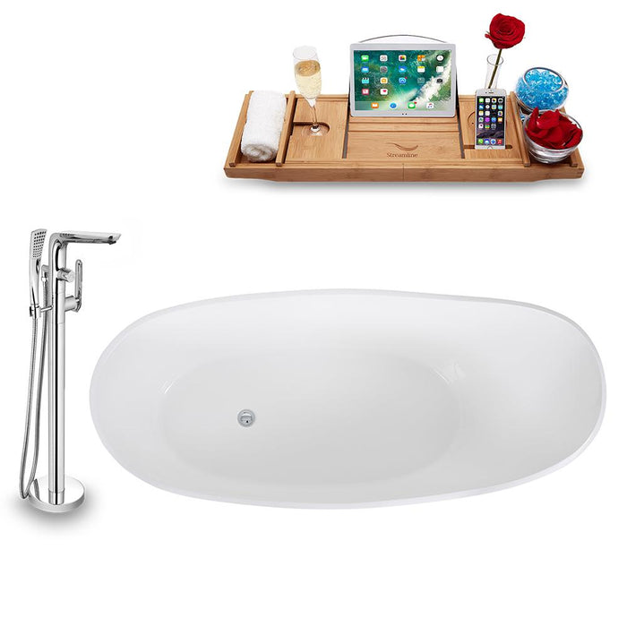 Tub, Faucet, and Tray Set Streamline 65'' Freestanding KH0907-120