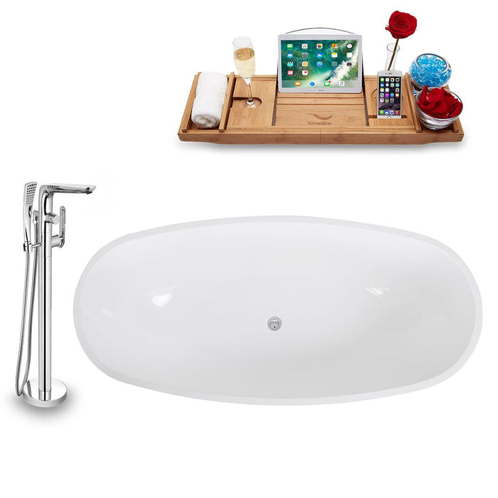Tub, Faucet, and Tray Set Streamline 68'' Freestanding KH1009-120