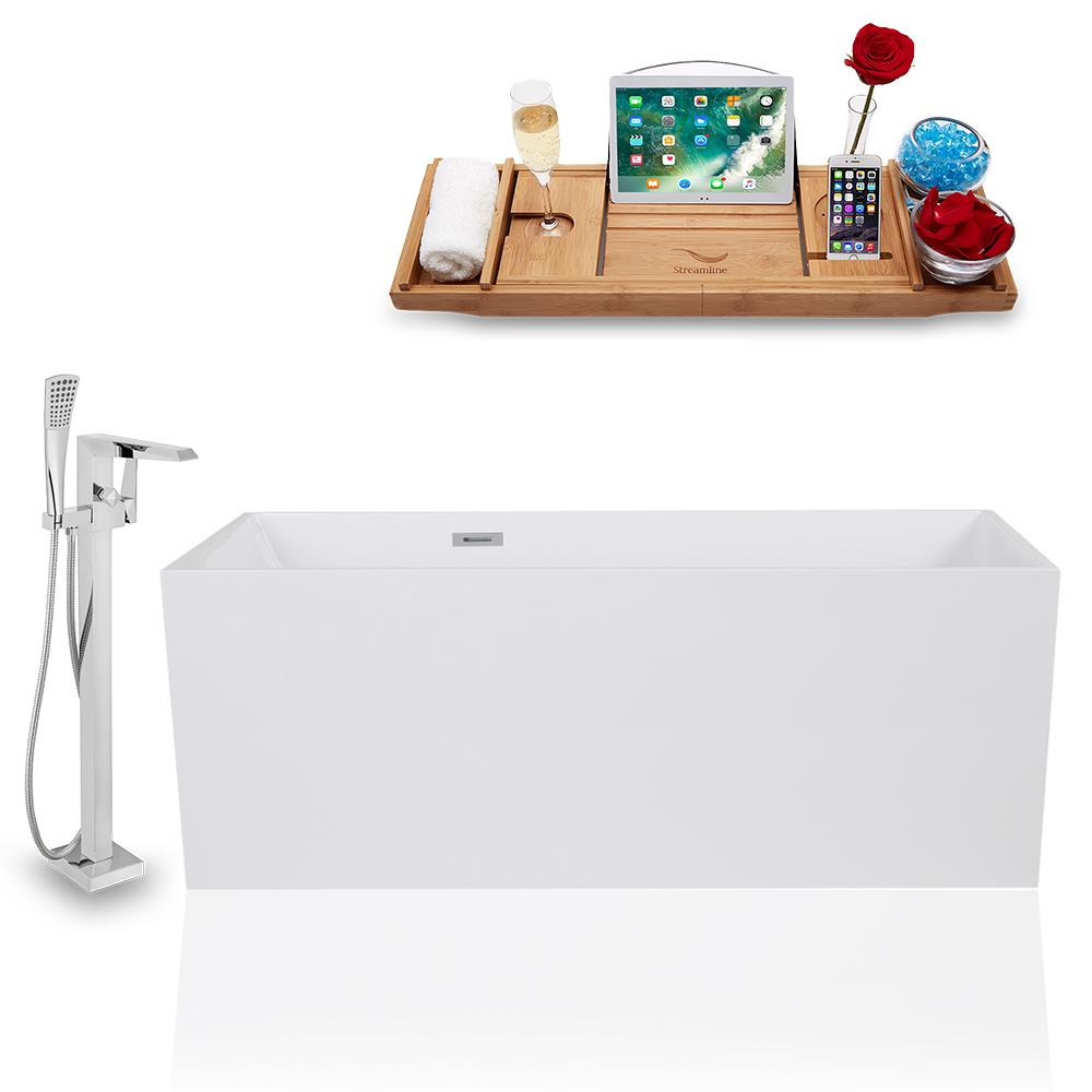 Tub, Faucet, and Tray Set Streamline 59'' Freestanding KH1169-100