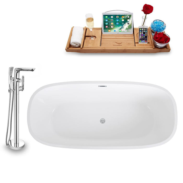 Tub, Faucet, and Tray Set Streamline 67'' Freestanding KH1486-120