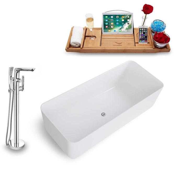 Tub, Faucet, and Tray Set Streamline 67'' Freestanding KH1580-120