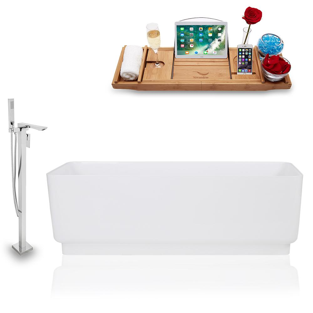 Tub, Faucet, and Tray Set Streamline 67'' Freestanding KH1580-140