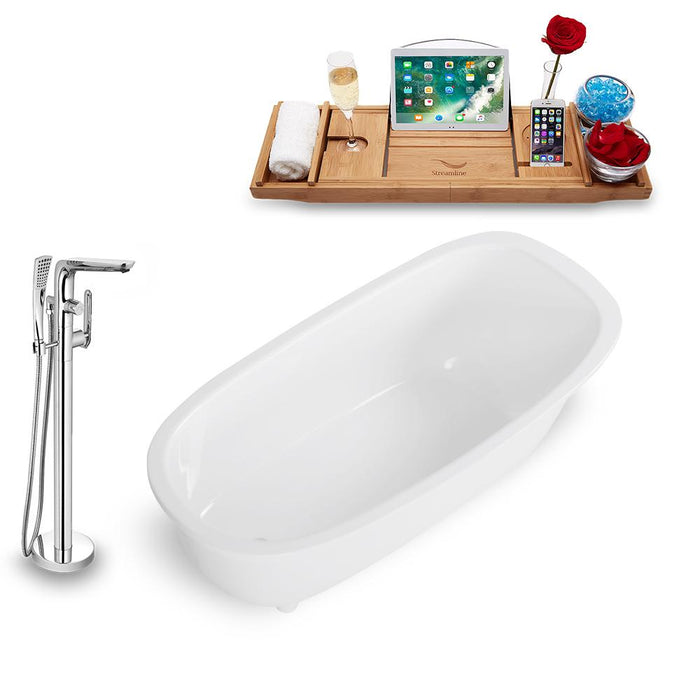 Tub, Faucet, and Tray Set Streamline 63'' Freestanding KH1686-120