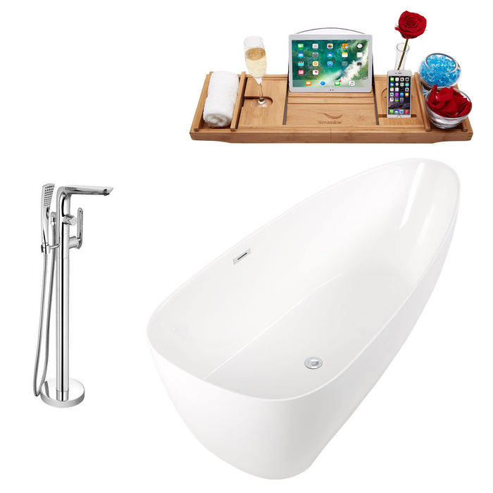 "Tub, Faucet and Tray Set Streamline 67"" Freestanding KH80-120"