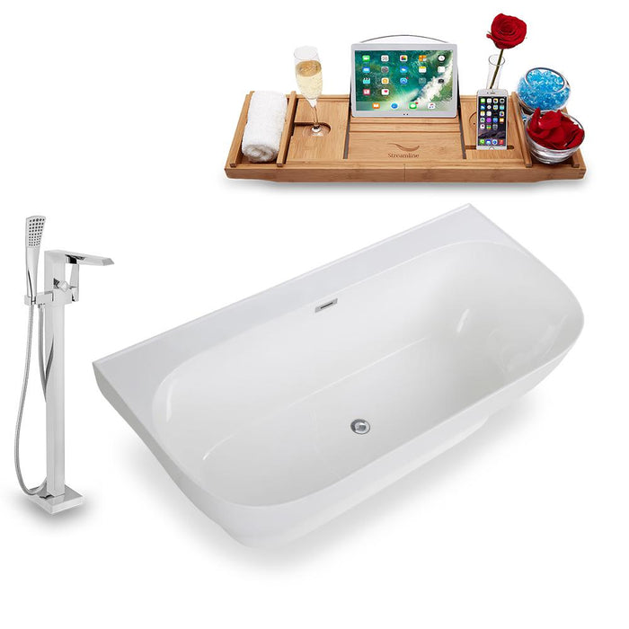 Tub, Faucet, and Tray Set Streamline 67'' Freestanding KH87-100
