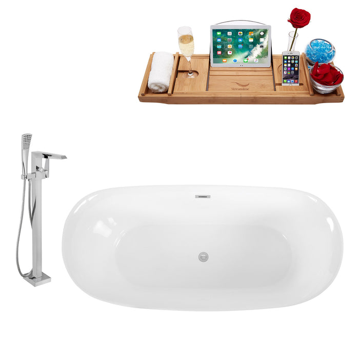 "Tub, Faucet and Tray Set Streamline 67"" Freestanding KH88-100"