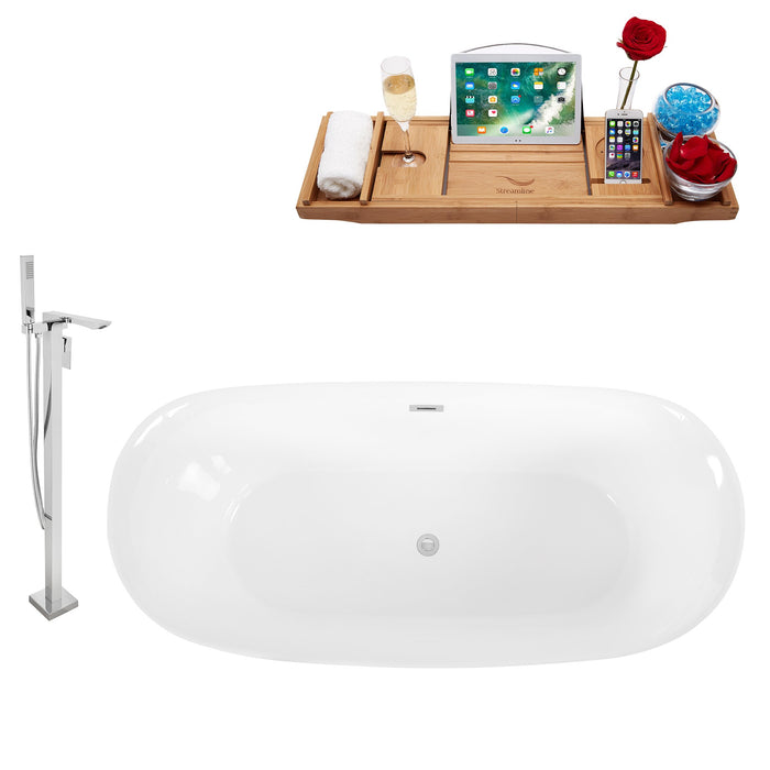 "Tub, Faucet and Tray Set Streamline 67"" Freestanding KH88-140"