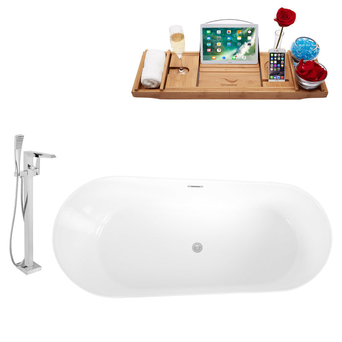 "Tub, Faucet and Tray Set Streamline 67"" Freestanding KH89-100"