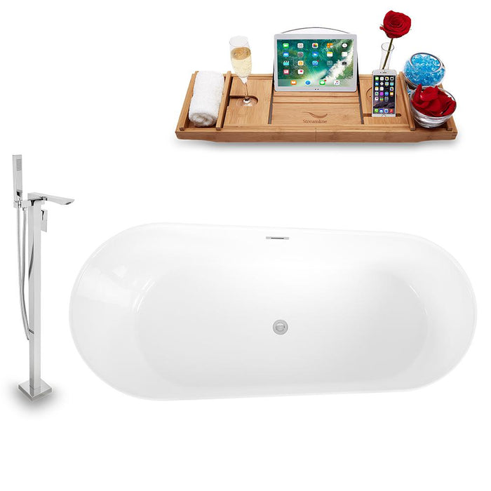 Tub, Faucet, and Tray Set Streamline 59'' Freestanding KH892-140
