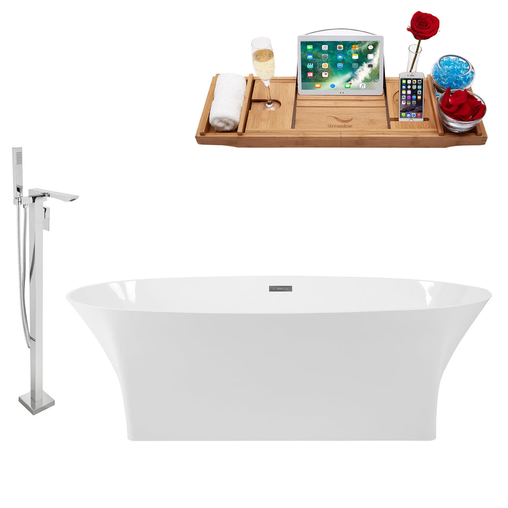 "Tub, Faucet and Tray Set Streamline 67"" Freestanding KH92-140"