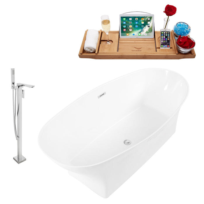 "Tub, Faucet and Tray Set Streamline 67"" Freestanding KH95-140"