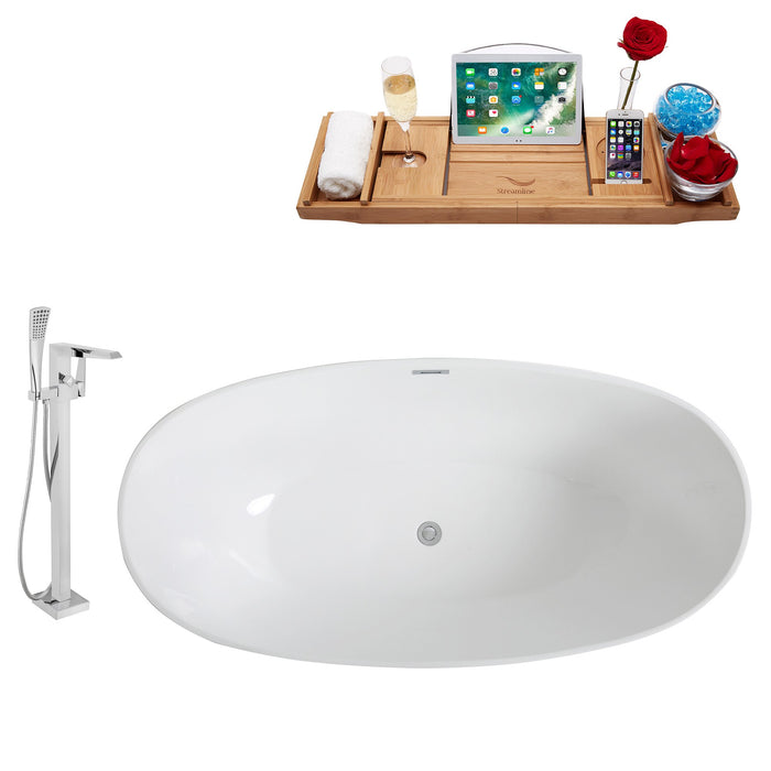 "Tub, Faucet and Tray Set Streamline 63"" Freestanding KH96-100"