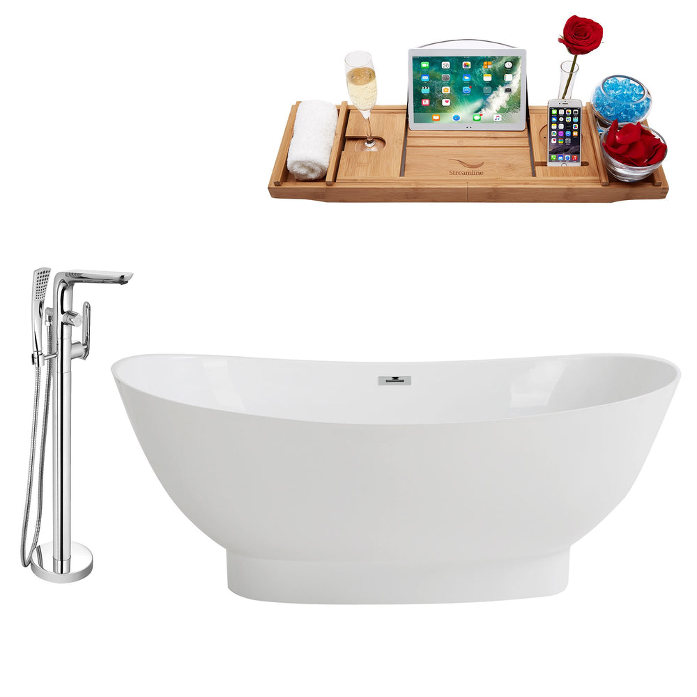 "Tub, Faucet and Tray Set Streamline 63"" Freestanding KH96-120"