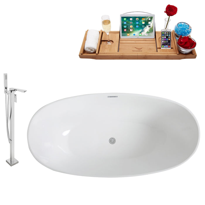 "Tub, Faucet and Tray Set Streamline 63"" Freestanding KH96-140"
