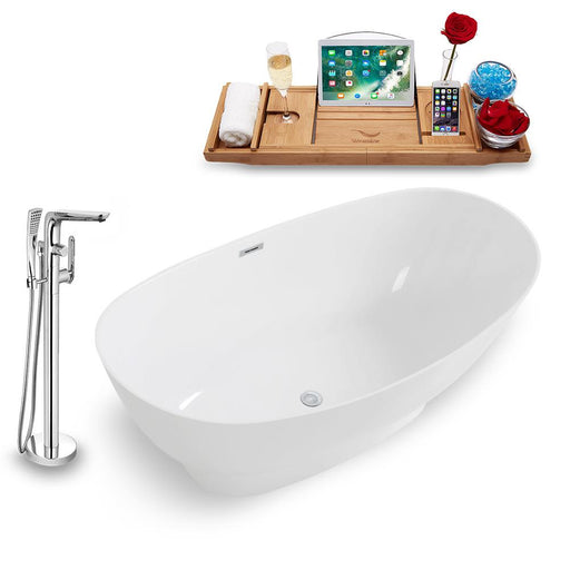 Tub, Faucet, and Tray Set Streamline 67'' Freestanding KH962-120