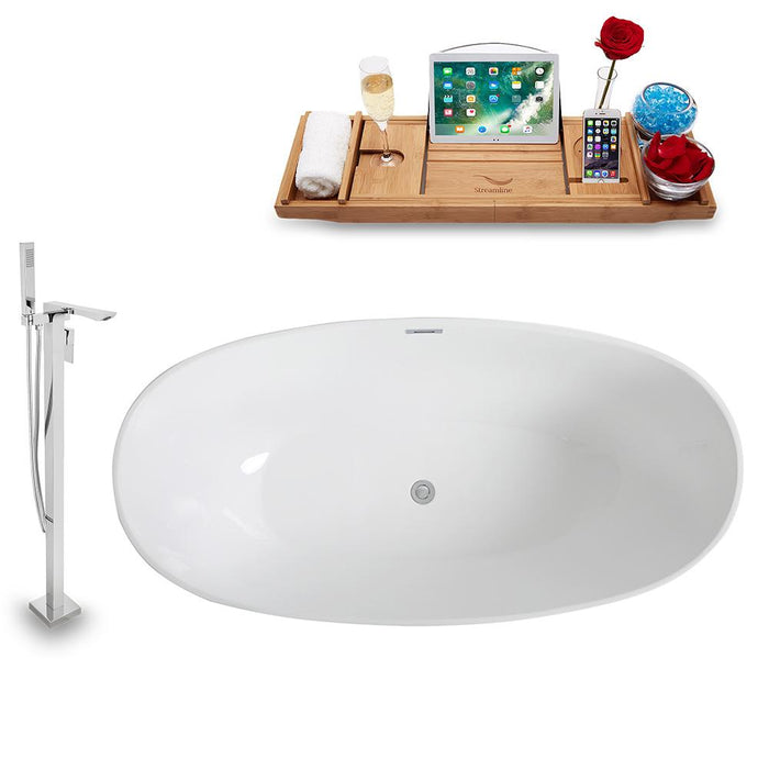 Tub, Faucet, and Tray Set Streamline 67'' Freestanding KH962-140
