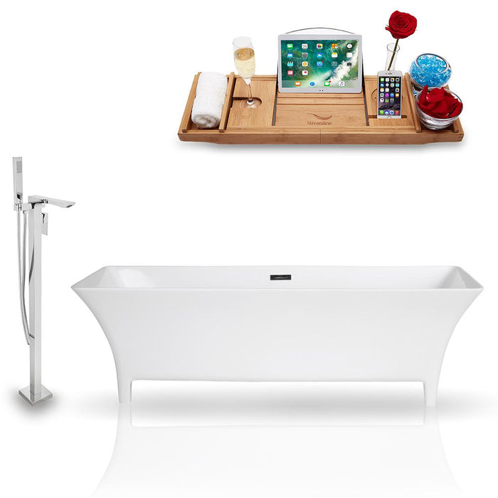 Tub, Faucet, and Tray Set Streamline 67'' Freestanding KH97-140