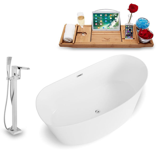 Tub, Faucet, and Tray Set Streamline 67'' Freestanding KH98-100