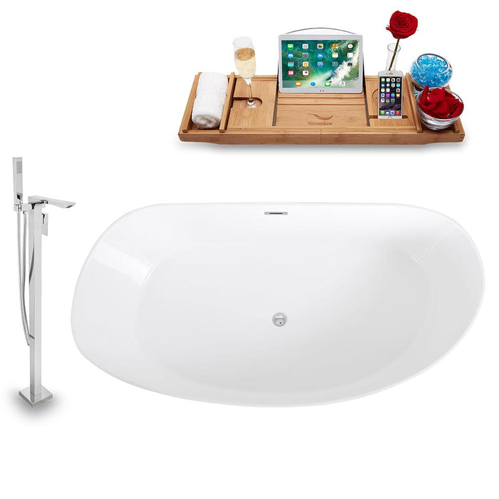 Tub, Faucet, and Tray Set Streamline 67'' Freestanding KH98-140