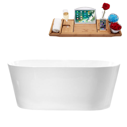 "58"" Streamline M-2180-58FSWH-FM Soaking Freestanding Tub and tray With Internal Drain"