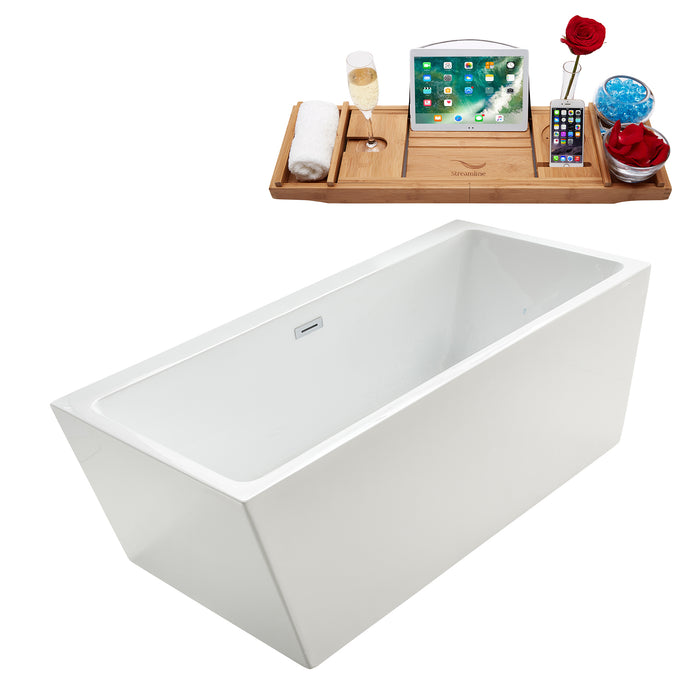 "67"" Streamline M-2220-67FSWH-DM Soaking Freestanding Tub and tray With Internal Drain"