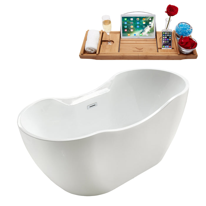 "67"" Streamline M-2300-67FSWH-DM Soaking Freestanding Tub and tray With Internal Drain"