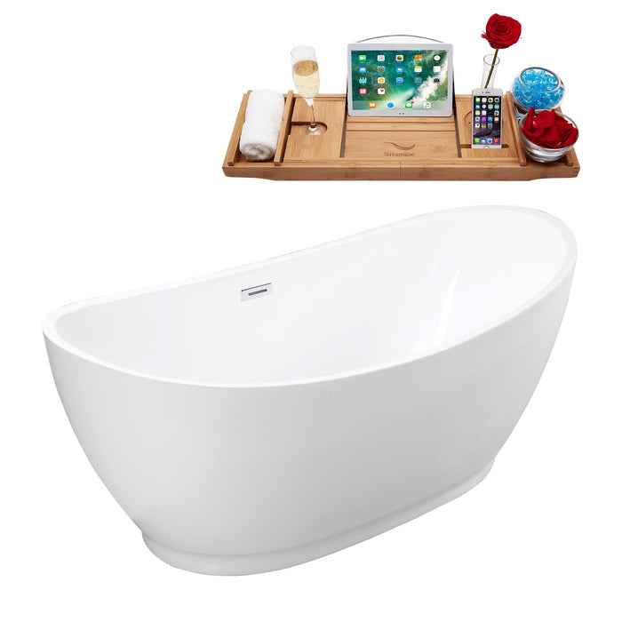 "67"" Streamline M-2360-67FSWH-FM Soaking Freestanding Tub and tray With Internal Drain"