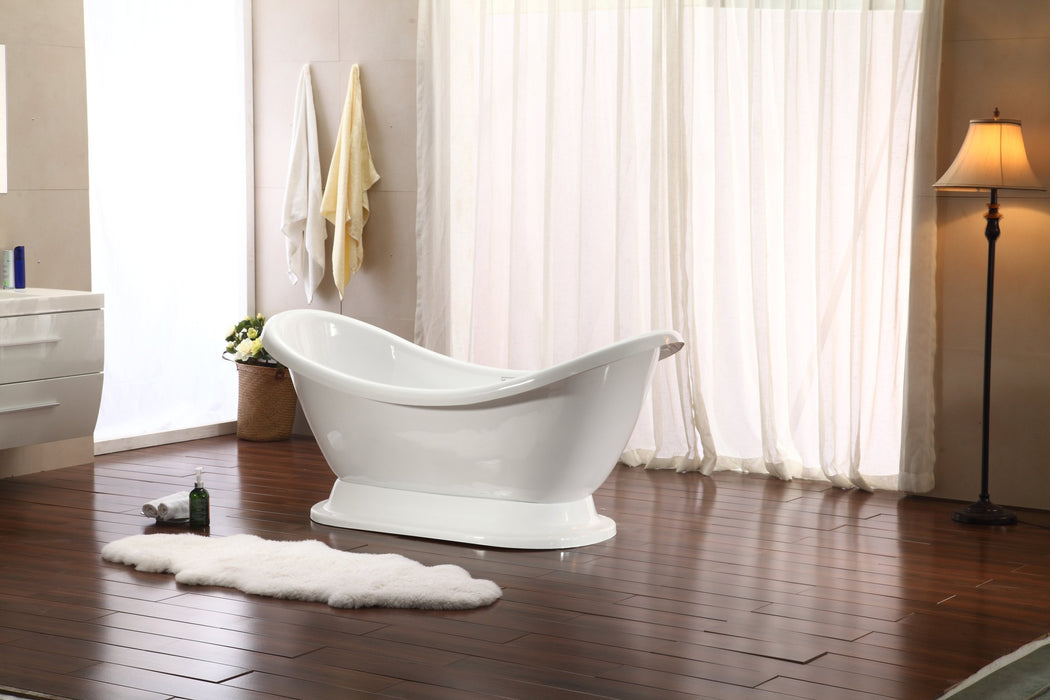 "69"" Streamline M-2380-69FSWH-FM Soaking Freestanding Tub and tray With Internal Drain"