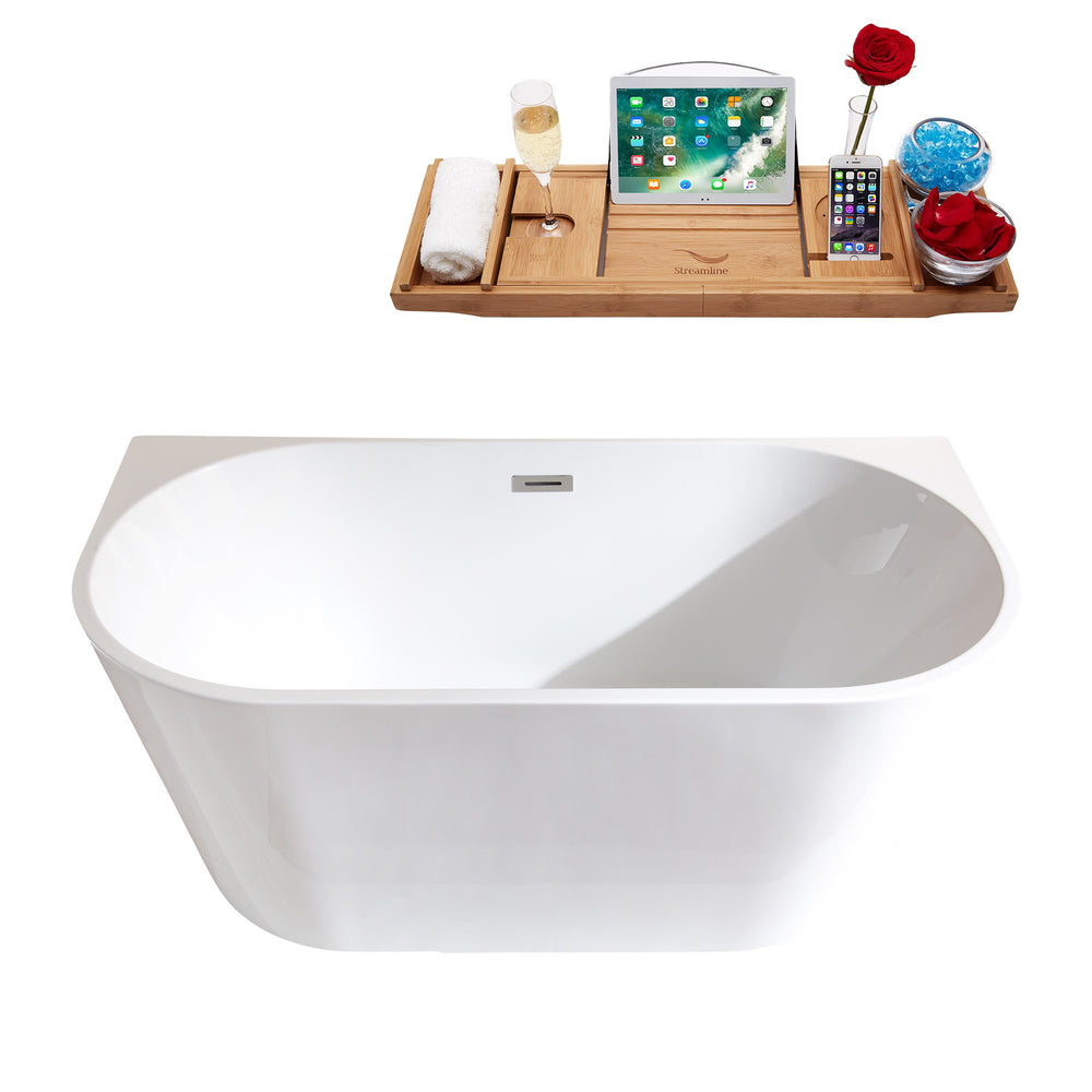 "59"" Streamline M-2420-59FSWH-FM Soaking Freestanding Tub and tray With Internal Drain"