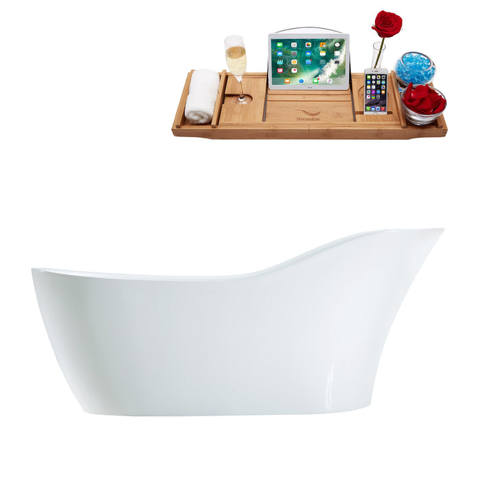 "67"" Streamline M-2480-67FSWH-FM Soaking Freestanding Tub and tray With Internal Drain"