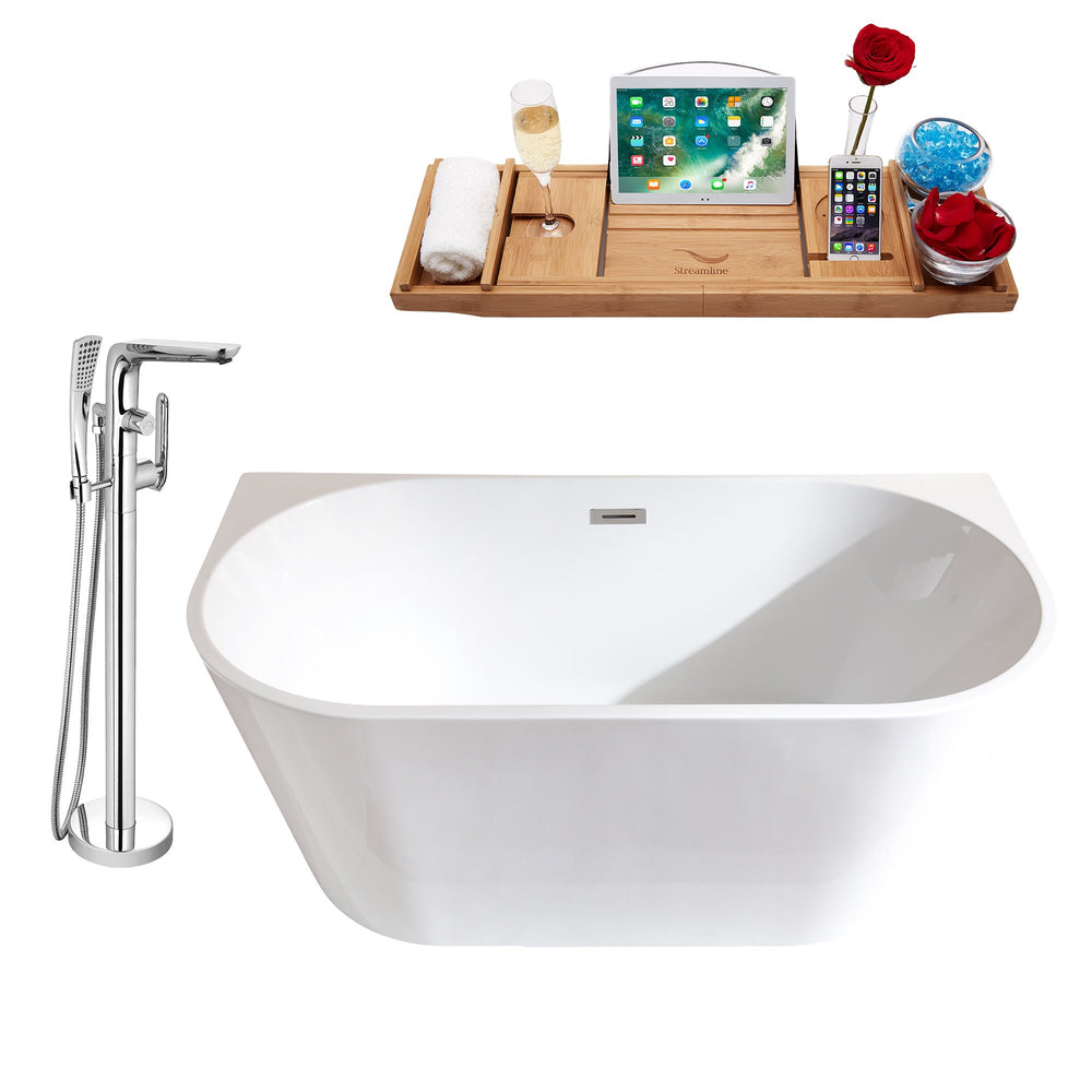 "Tub, Faucet and Tray Set Streamline 59"" Freestanding MH2420-120"