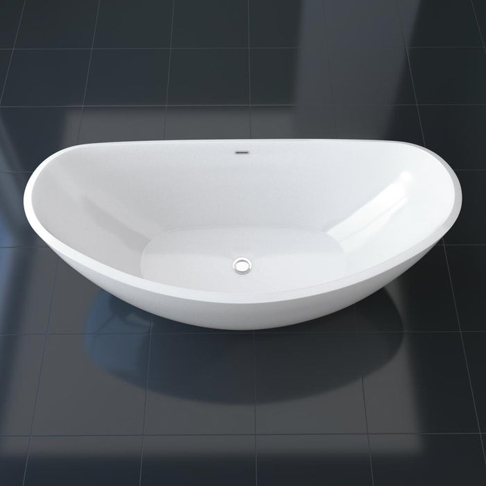 "75"" Streamline N-10200-75FSWH-FM Freestanding Tub and Tray With Internal Drain"
