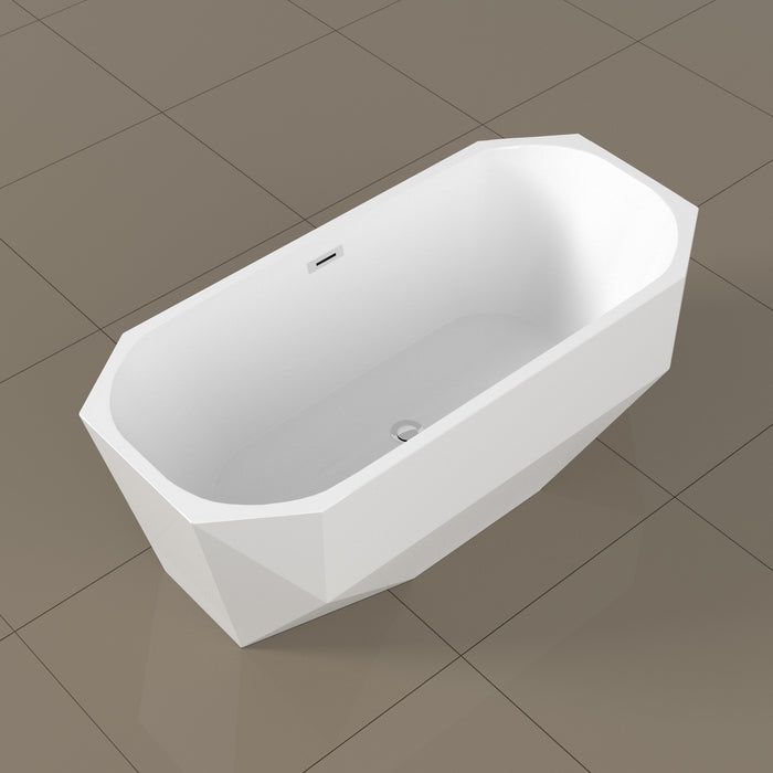 "63"" Streamline N-10220-63FSWH-FM Soaking Freestanding Tub and Tray With Internal Drain"