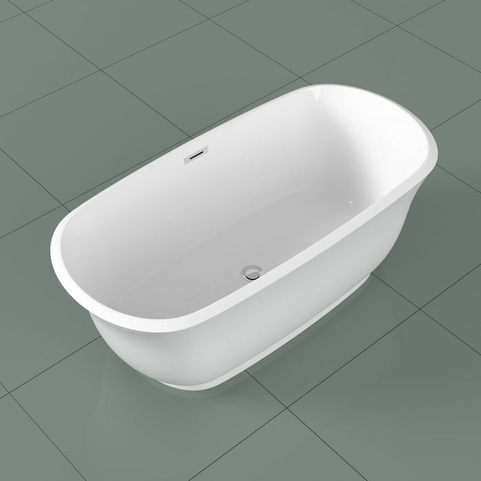 "59"" Streamline N-10240-59FSWH-FM Soaking Freestanding Tub and Tray With Internal Drain"