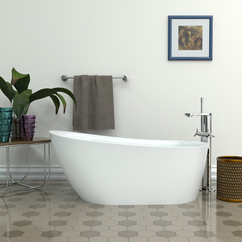 "59"" Streamline N-10260-59FSWH-FM Soaking Freestanding Tub and Tray With Internal Drain"