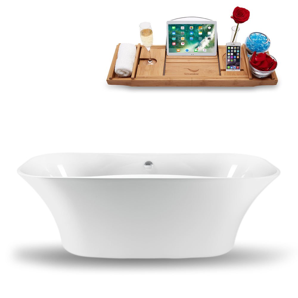 "59"" Streamline N-1060-59FSWH-FM Freestanding Tub and Tray With Internal Drain"