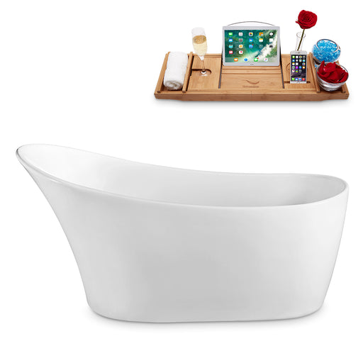 "55"" Streamline N-1760-55FSWH-FM Freestanding Tub and Tray With Internal Drain"